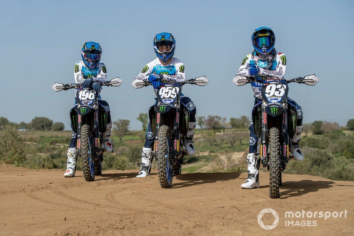 Van links naar rechts: Thibault Benistant, Maxime Renaux en Jago Geerts, Monster Energy Yamaha MX2 Factory Racing