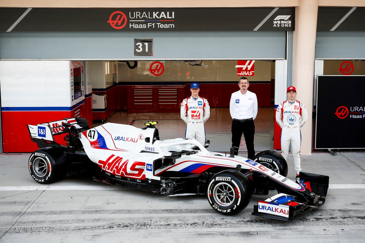 Mick Schumacher, Haas F1, Guenther Steiner, Team Principal, Haas F1 and Nikita Mazepin, Haas F1