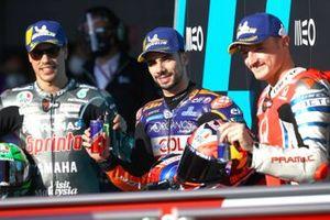 Polesitter Miguel Oliveira, Red Bull KTM Tech 3, Franco Morbidelli, Petronas Yamaha SRT, third place Jack Miller, Pramac Racing