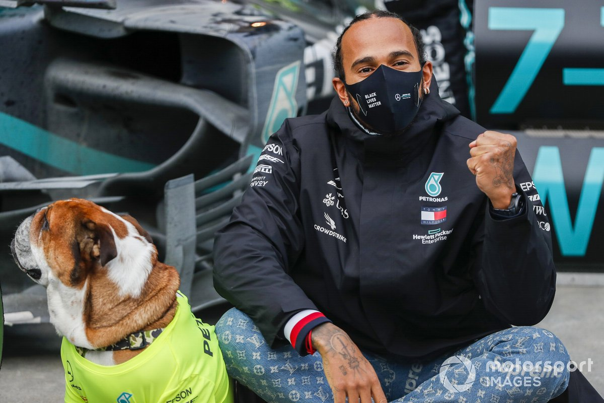 Lewis Hamilton, Mercedes-AMG F1, 1st position, his dog Roscoe and the Mercedes team celebrate after having secured a seventh world drivers championship title