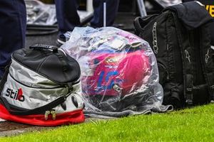 The helmet of Lance Stroll, Racing Point, protected from the rain