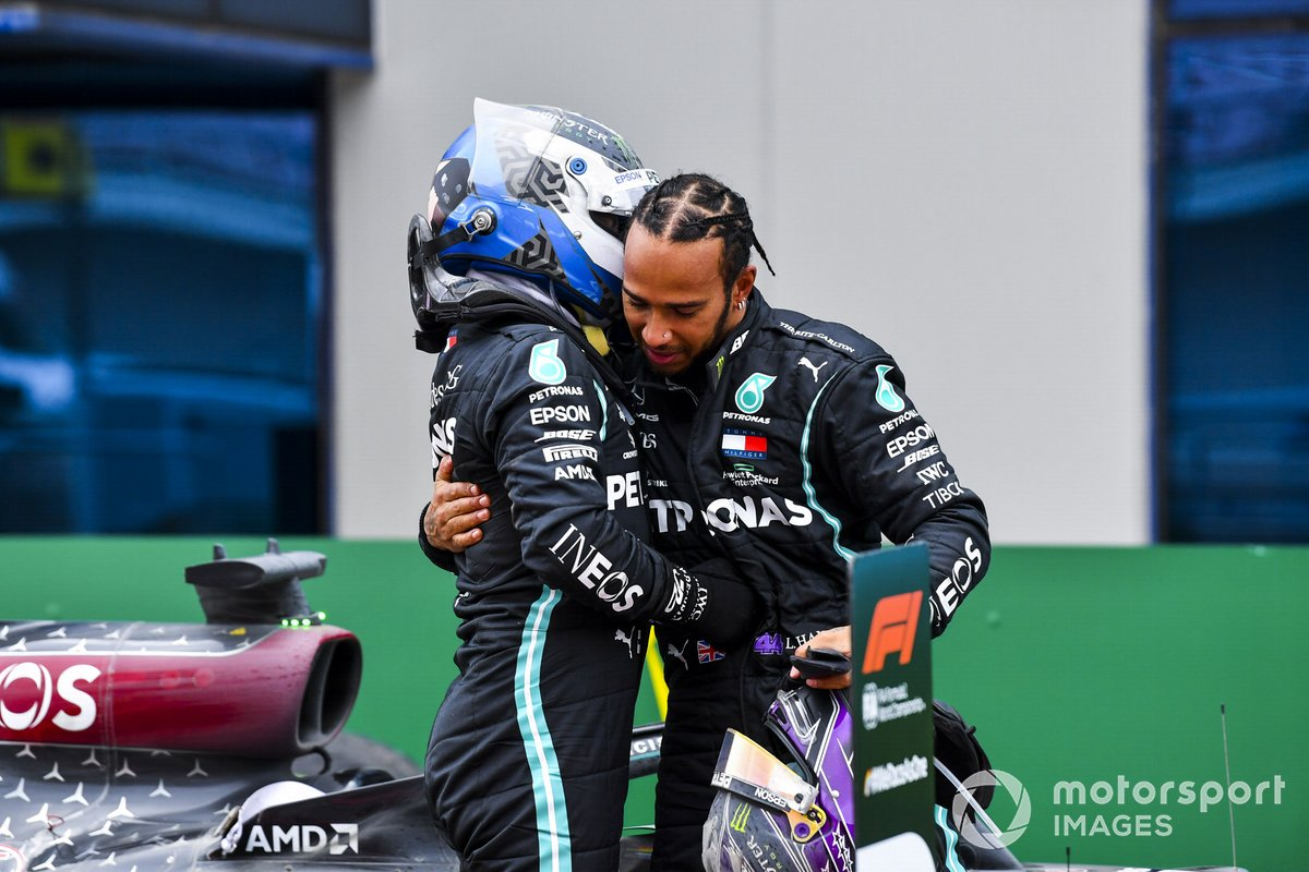 Race Winner Lewis Hamilton, Mercedes-AMG F1 celebrates his 7th World Championship title in Parc Ferme with Valtteri Bottas, Mercedes-AMG F1