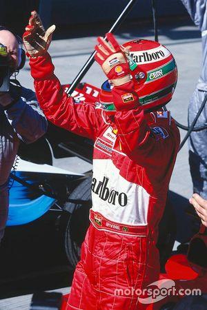 Eddie Irvine, Ferrari F399 celebrates the win