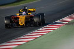 Jolyon Palmer, Renault Sport F1 Team RS17, en piste avec de la peinture de visualisation des flux