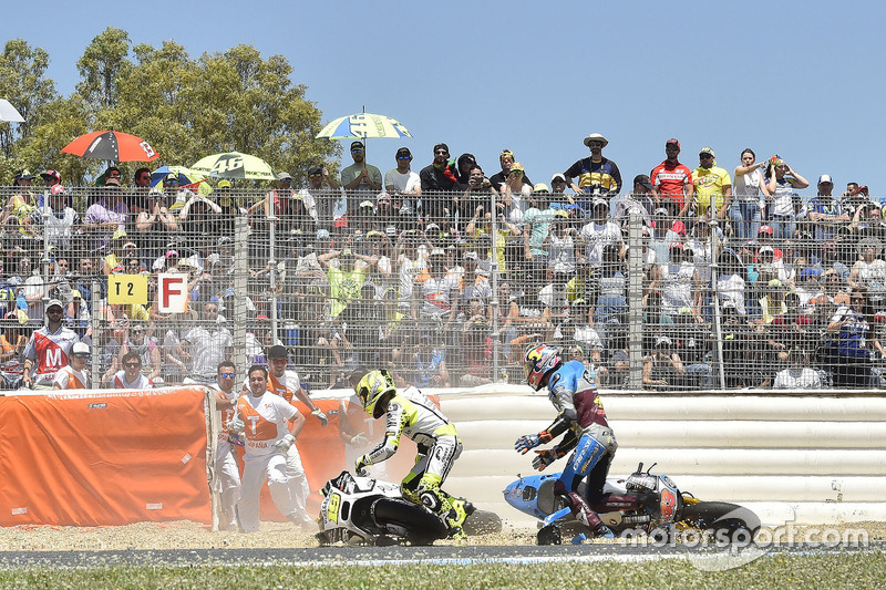 Jack Miller, Estrella Galicia 0,0 Marc VDS, Alvaro Bautista, Aspar Racing Team crash