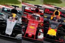 Mercedes W08; Ferrari SF70H; Red Bull Racing RB13