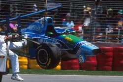 Michael Schumacher, Benetton B194 Ford after the crash
