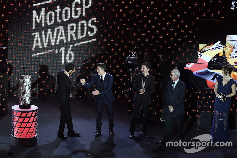 Carmelo Ezpeleta, CEO Dorna Sports, Valentino Rossi, Yamaha Factory Racing, Marc Marquez, Repsol Honda Team, Jorge Lorenzo, Yamaha Factory Racing