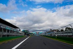 The pit straight and pit lane exit