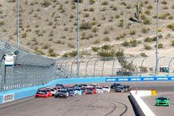 Restart: Austin Dillon, Richard Childress Racing, Chevrolet; Erik Jones, Joe Gibbs Racing, Toyota