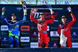 Podium Race 2: Jeremy van Horebeek, Yamaha Factory Team; Tim Gajser, Team HRC dan Evgeny Bobryshev,