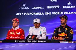 Sebastian Vettel, Ferrari Lewis Hamilton, Mercedes AMG F1 and Daniel Ricciardo, Red Bull Racing in t