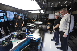 Ross Brawn, Managing Director of Motorsports, FOM, visits the Mercedes garage for a look at the Halo