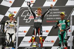 Le podium : le vainqueur, Dominique Aegerter, Kiefer Racing, le deuxième, Thomas Luthi, CarXpert Interwetten, et le troisième, Hafizh Syahrin, Petronas Raceline Malaysia