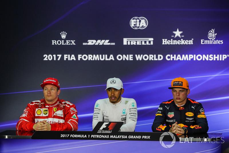 Kimi Raikkonen, Ferrari, Lewis Hamilton, Mercedes AMG F1 and Max Verstappen, Red Bull Racing in the Press Conference