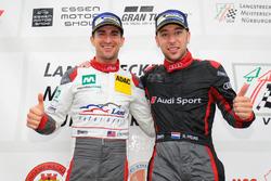 I vincitori sul podio: Connor De Phillippi, Robin Frijns, Land Motorsport, Audi R8 LMS