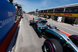 Valtteri Bottas, Mercedes AMG F1 W08, in the pit lane
