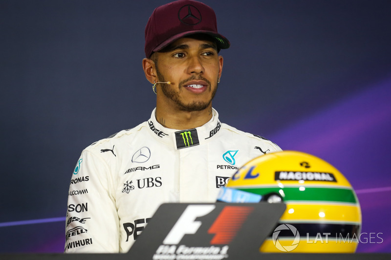 Polesitter Lewis Hamilton, Mercedes AMG F1 in the Press Conference