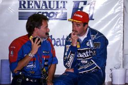 Nigel Mansell, Williams et Peter Windsor, manager sponsor Williams