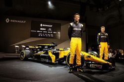 Jolyon Palmer, Renault Sport F1 Team and team mate Nico Hulkenberg, Renault Sport F1 Team with the R