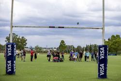 Atmosphäre vor Ort mit den Rugby-Spielern
