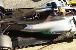 Lewis Hamilton, Mercedes AMG F1 W08 avec l'aileron de requin ouvert