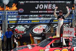 Erik Jones, Joe Gibbs Racing Toyota, Celebrates in victory lane