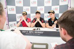 Race winner Nirei Fukuzumi, ART Grand Prix, second place Leonardo Pulcini, Arden International, thir