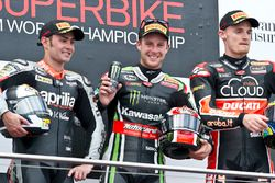 Podium: race winner Jonathan Rea, Kawasaki, second place Leon Haslam, Aprilia Racing Team, third place Chaz Davies, Ducati Corse