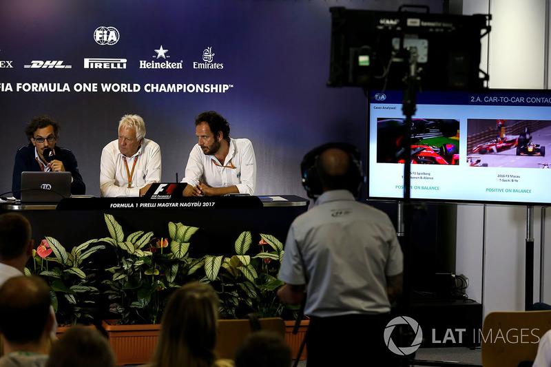 Laurent Mekies, FIA Safety Director, Charlie Whiting, FIA Delegate, Matteo Bonciani, FIA Media Delegate
