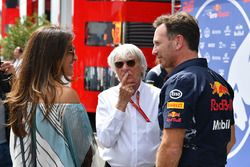 Bernie Ecclestone met zijn vrouw Fabiana Ecclestone, Christian Horner, Red Bull Racing Team Principa