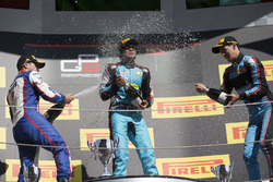 Podium: race winner Arjun Maini, Jenzer Motorsport, second place Dorian Boccolacci, Trident, third place Alessio Lorandi, Jenzer Motorsport