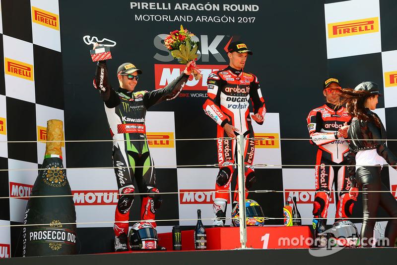 Chaz Davies, Ducati Team; Jonathan Rea, Kawasaki Racing; Marco Melandri, Ducati Team