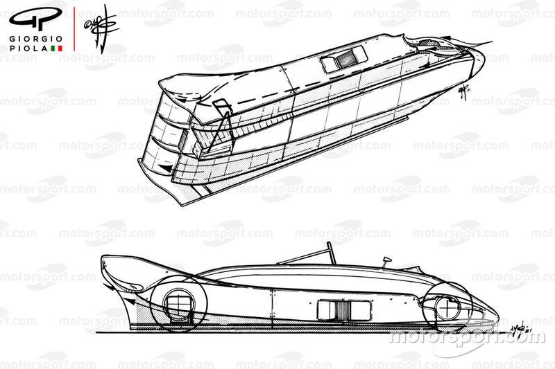 Vue de l'aérodynamique de la Lotus 88 de 1981