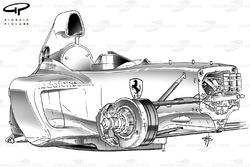 Vue de 3/4 du châssis de la Ferrari F2003-GA