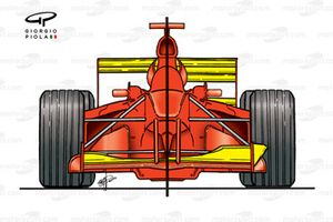 Ferrari F1-2000 high vs low downforce configurations