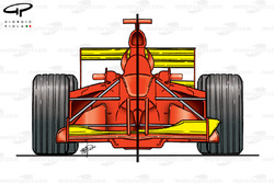 Ferrari F1-2000 high vs low downforce configurations