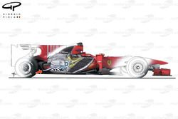 Ferrari F10 - Engine angled to accomodate the double diffuser layout