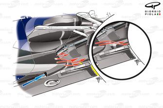 Cambios en el piso del Red Bull RB8 con una ranura adicional que permite el paso de los gases.