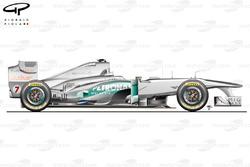 Vue latérale de la Mercedes W02, Europe