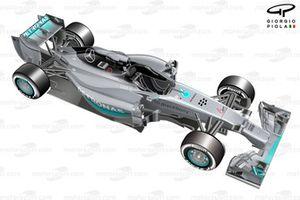 Vista 3/4 del Mercedes W05