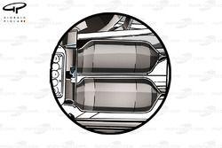 McLaren MP4-29 rear wishbone suspension 'blockers' normal configuration used as a comparison