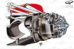 Détail du conduit de freins avant de la Ferrari F14 T