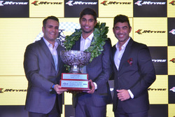 Anindith Reddy with the EURO JK 16 Champion trophy and Armaan Ebrahim