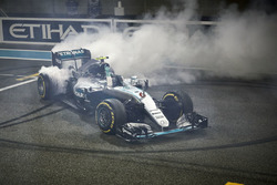 Second place Nico Rosberg, Mercedes AMG F1 W07 Hybrid celebrates his World Championship at the end o