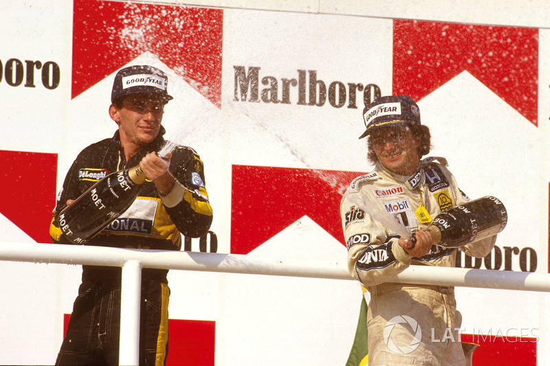 Podyum: Yarış galibi Nelson Piquet, Williams Honda, 2. Ayrton Senna, Team Lotus