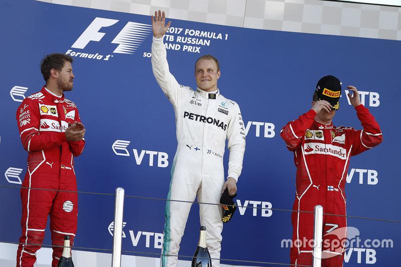 2017: 1. Valtteri Bottas, 2. Sebastian Vettel, Ferrari y 3 kimi Raikkonen