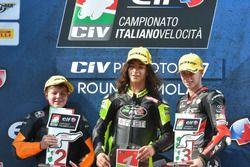 Il podio di Gara 1 della PreMoto3 ad Imola