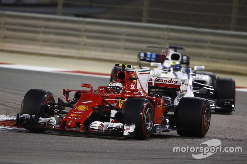 Kimi Raikkonen, Ferrari SF70H, leads Felipe Massa, Williams FW40