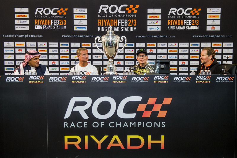 Winner David Coulthard, Petter Solberg, Prince Khaled Al Faisal, President of the Motor Federation Of Saudi Arabia and Fredrik Johnsson in the press conference